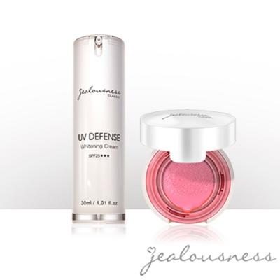 Jealousness婕洛妮絲 抗UV防曬素顏霜30ml+微醺晶透氣墊腮紅