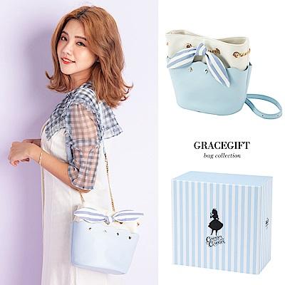 Disney collection by grace gift-愛麗絲蝴蝶結花邊鍊條水桶包 藍