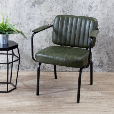 Boden-莫德工業風綠色扶手餐椅/單椅-61x53x77cm