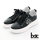 【bac】休閒享樂全真皮蛇紋綁帶厚底休閒鞋-黑