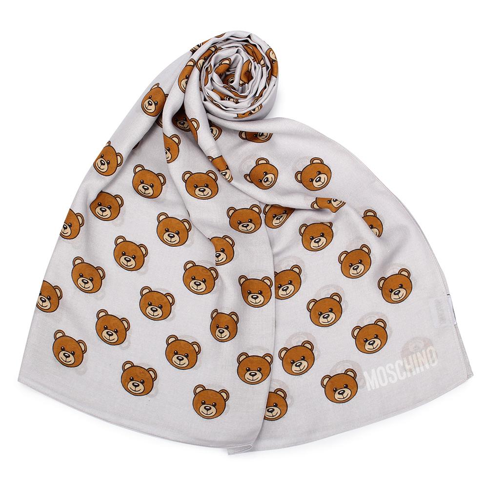 MOSCHINO 經典滿版TOY小熊圖樣100%莫代爾薄圍巾-淺灰色