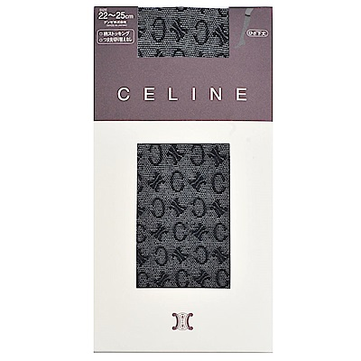 CELINE 繽紛品牌LOGO花紋半統襪(黑)