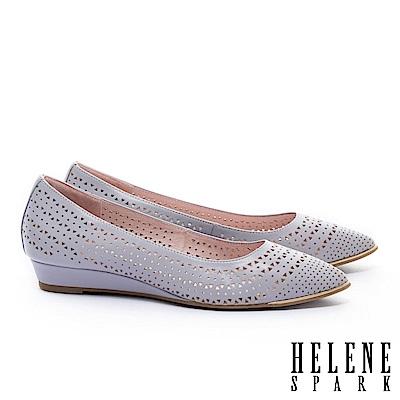 低跟鞋 HELENE SPARK 金屬風三角沖孔羊皮尖頭楔型低跟鞋-紫