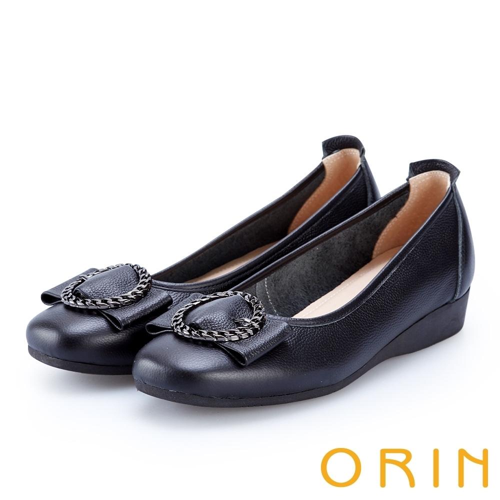 [今日限定] MAGY熱銷平底鞋均價1180 (G.質感交叉鍊環牛皮低跟鞋-黑色)