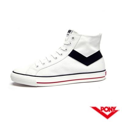 【PONY】Shooter系列經典復古高筒帆布鞋-男-白色