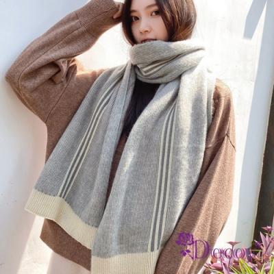Decoy 時尚條紋 韓風加大中性保暖圍巾 灰米