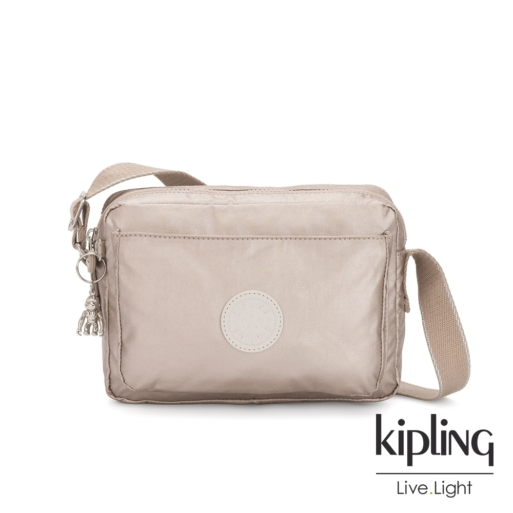 Kipling 都會時尚霧玫瑰金多層隨身斜背包-ABANU M
