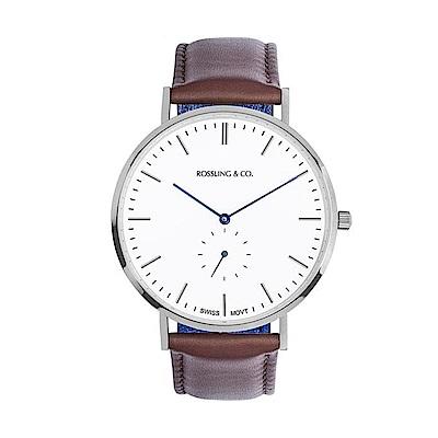 Rossling&Co. 加拿大品牌 單眼系列 白錶盤x銀錶框咖啡皮革錶帶40mm