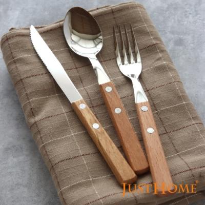 Just Home櫸木柄304不鏽鋼餐具6件組 餐刀/餐匙/餐叉(自然簡約鄉村風/露營餐具)
