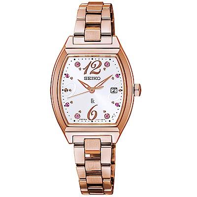 SEIKO精工 LUKIA晶鑽太陽能時尚手錶SUT354J1-玫瑰金框/26mm