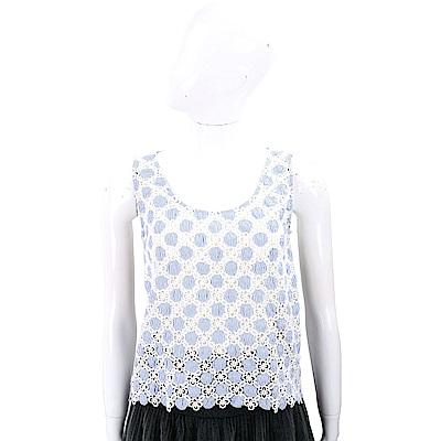 MOSCHINO 菱格織花藍白條紋背心