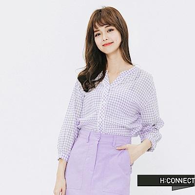 H:CONNECT 韓國品牌 女裝-細格紋圓領襯衫-紫