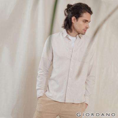 GIORDANO 男裝棉麻長袖襯衫 - 02 卡其