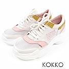 KOKKO - 極輕量牛皮休閒風老爹鞋  - 椰奶白