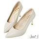 Ann'S嚮往的女人味-層次拼接柔軟小羊皮電鍍細跟尖頭高跟鞋-米白 product thumbnail 1