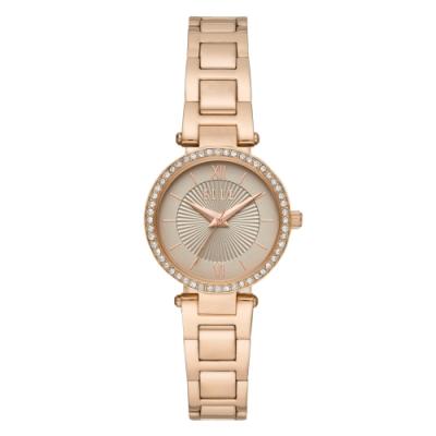 ELLE Muette光線閃耀晶鑽腕錶-卡其X玫瑰金(ELL25014)/28mm