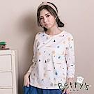 betty's貝蒂思 日系插圖七分袖T-shirt(白色)