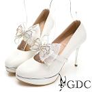 GDC-氣質華麗蝴蝶水鑽高跟新娘包鞋-白色