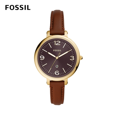 【FOSSIL】Monroe 婉約氣質女錶 咖啡色真皮錶帶 38MM ES4943