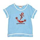 愛的世界 SUPERMINI 純棉圓領海盜船短袖T恤-藍/2~3歲