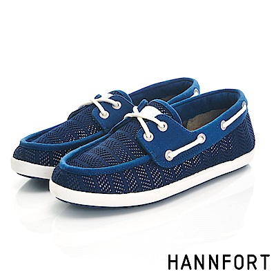 HANNFORT CALIFORNIA抽繩帆船鞋-女-海軍藍