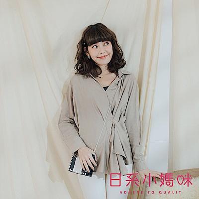 日系小媽咪孕婦裝-正韓孕婦裝 微知性後鬆緊不規則造型軟料襯衫上衣