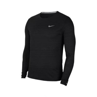 Nike 長袖T恤 Miler Running Top 男款 反光 吸濕排汗 輕便 簡約 健身 重訓 黑 銀 CU5990010