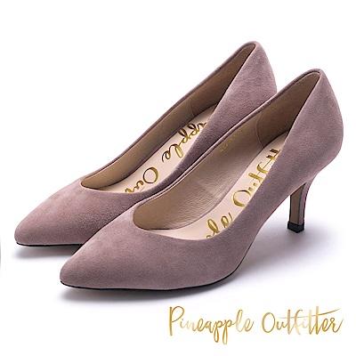Pineapple Outfitter 優雅美型 麂皮尖頭中跟鞋-絨灰