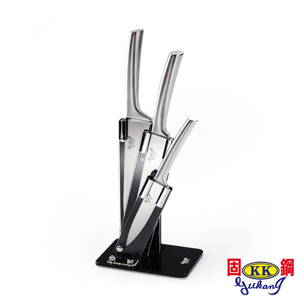 固鋼豪華一體成型不鏽鋼馬背刀具組(3刀1座4件組)