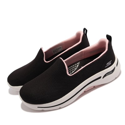 Skechers 休閒鞋 Go Walk Arch Fit 健走 女鞋 戶外踏青 專利鞋墊 避震 緩衝 回彈 黑 粉 124401-BKPK