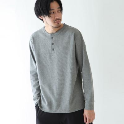 亨利領長袖T恤鬆餅織素色上衣(5色) -ZIP日本男裝