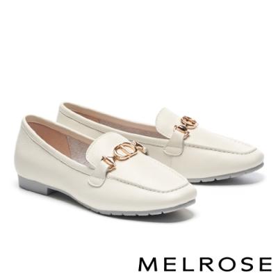 低跟鞋 MELROSE 質感時尚飾釦方頭樂福低跟鞋-米