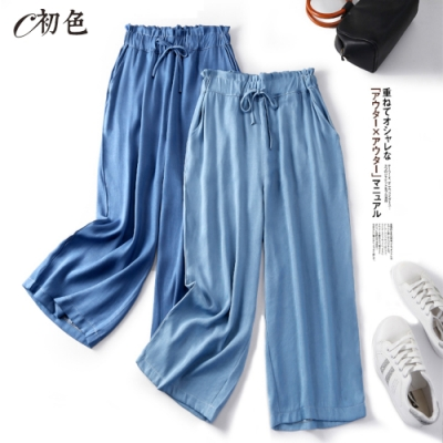 初色  涼感休閒綁帶牛仔寬褲-共2色-(M-2XL可選)