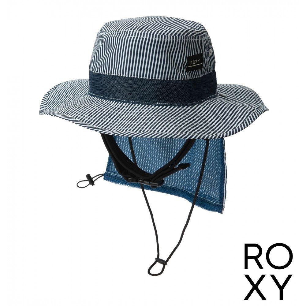 【ROXY】UV WATER CAMP HAT PRT 抗UV戶外運動帽 藍色