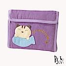 ABS貝斯貓 簡約調性可愛拼布 5卡單鈔票層 折疊短夾(葡萄紫)88-026
