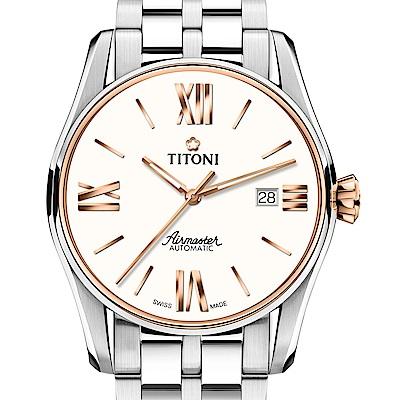 TITONI瑞士梅花錶 新空中霸王系列83908 SRG-619玫瑰金/白/鋼帶-40mm
