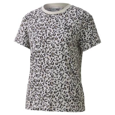 PUMA-女性流行系列Classics豹紋短袖T恤-淺青灰-歐規