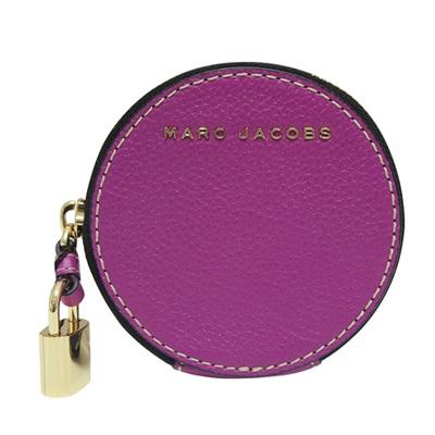 MARC JACOBS 圓形輪廓鎖頭拉鍊牛皮零錢包-紫色