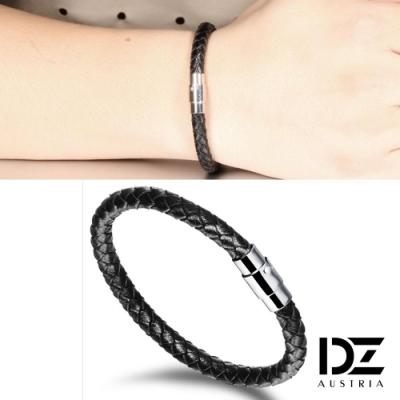 DZ 圓織單環 316L白鋼皮革手環手鍊(黑系)
