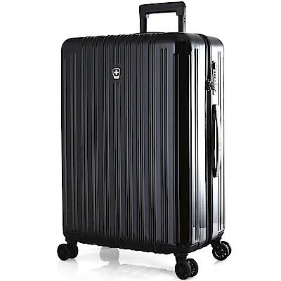 SWISSMOBILITY瑞動 經典雙線28吋PC耐撞TSA海關鎖行李箱/旅行箱 (黑色)