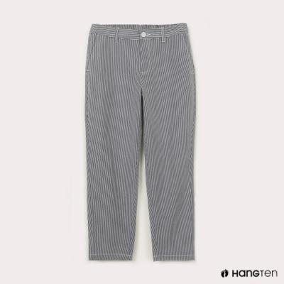 Hang Ten-女裝-TAPERED FIT鬆緊腰頭條紋緹花九分褲-黑白條紋