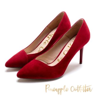 Pineapple Outfitter 性感美型 尖頭高跟鞋-絨紅