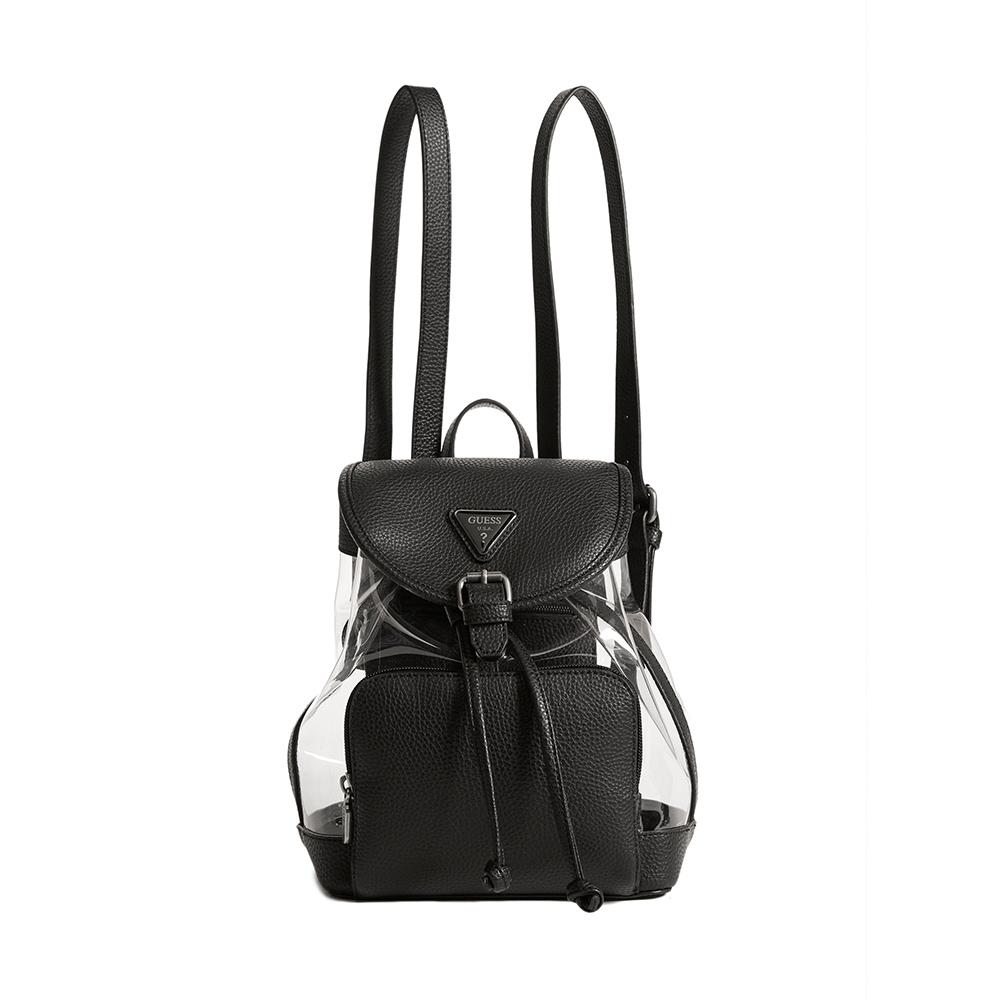 GUESS-女包-異素材拼接透明感後背包-黑