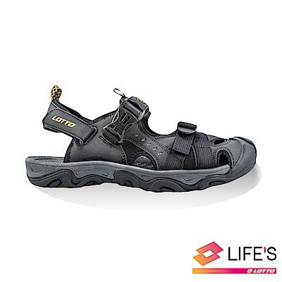 LOTTO 義大利 男 護趾戶外涼鞋 (黑)