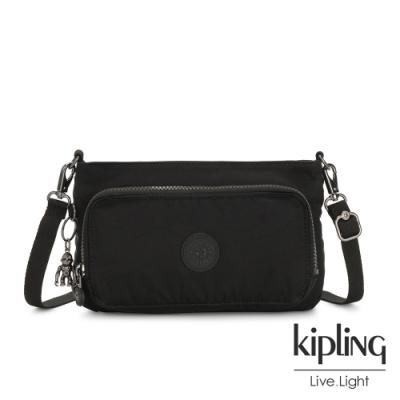 Kipling 極致低調黑前袋拉鍊長形肩背包-MYRTE