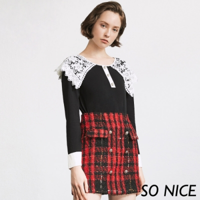 SO NICE俏麗格紋粗花呢80%羊毛短裙