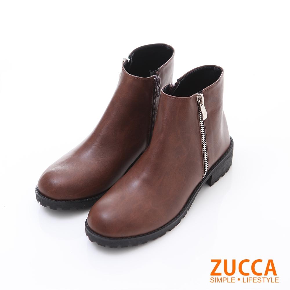 ZUCCA【z6218ce】皮質拼接側拉鍊低跟短靴-棕色