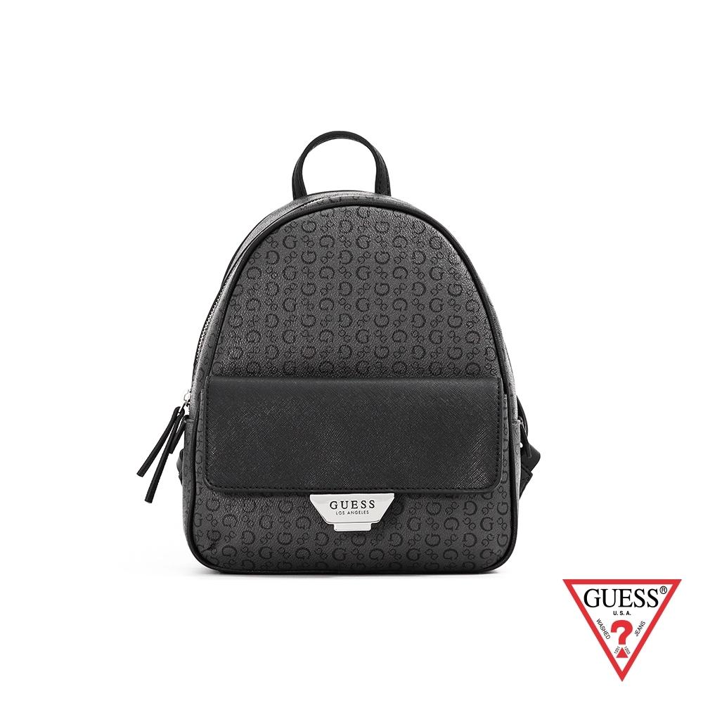 GUESS-女包-復古滿版LOGO雙色後背包-黑 原價3090