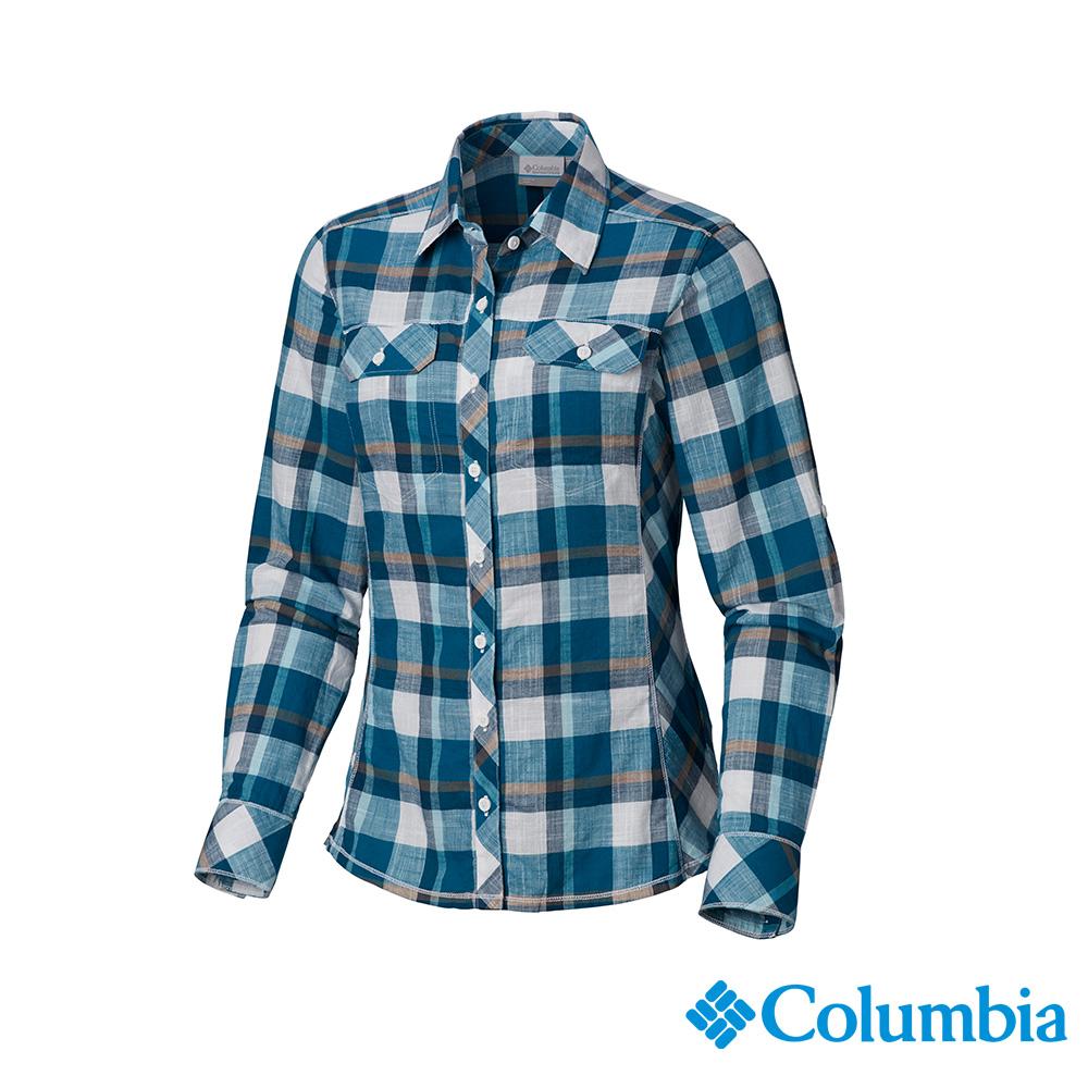 Columbia 哥倫比亞 女款-純棉長袖襯衫-藍色格紋 UAL79900BC