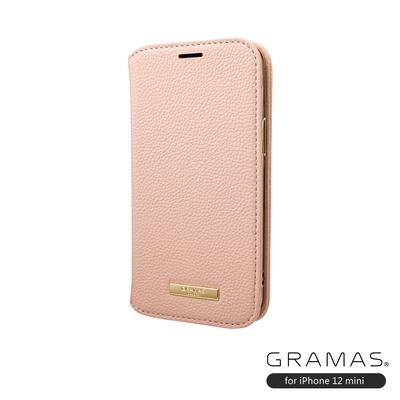 GRAMAS 東京職人工藝iPhone 12 mini (5.4吋)專用 時尚掀蓋式皮套手機殼-Shrink系列(粉)